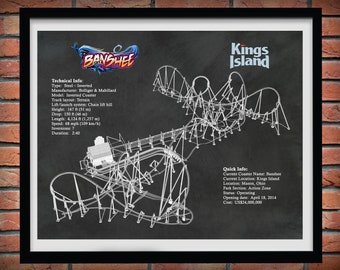 Banshee Roller Coaster Drawing, Kings Island Roller Coaster, Banshee Roller Coaster Blueprint, Thrill Rider Gift, Roller Coaster Decor