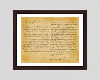 Gettysburg Address Art Print - Historical Abraham Lincoln Gettysburg Address Document Poster - Historical American Document -