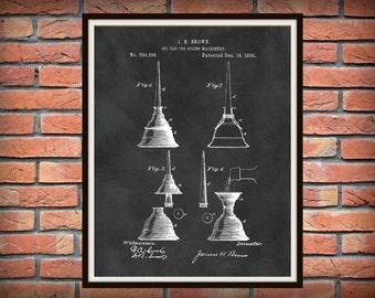 1883 Oil Can Patent Print - Mechanic Decor - Carpenter Wall Art - Auto Repair Shop Art - Machinist Wall Art - Antique Oil Can Print
