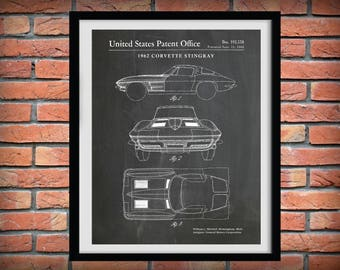 1962 Corvette Stingray Patent Print - Sports Car Poster - 60's Muscle Car Enthusiast - Mechanic Gift - Man Cave Decor - Chevy Corvette