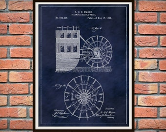 Patent 1898 Steamboat Paddle Wheel Art Print Poster - Boat - Ship - Nautical Wall Art - Mississippi River Boat - Paddle Wheel -
