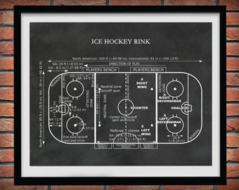 Ice Hockey Rink Diagram Vers #2 - Hockey Art Print - Hockey Player Decor - Hockey Poster - Hockey Gift - Hockey Patent