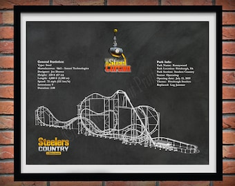 Steel Curtain Roller Coaster Drawing, Kennywood Roller Coaster Art Print, Steel Curtain Roller Coaster Blueprint, Roller Coaster Geek Gift