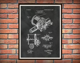 1907 Fishing Reel Patent Print - Art Print - Poster -  Fishing Camp Decor - Sports Patent - Fishing Tackle Art