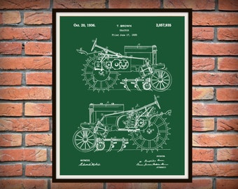 1935 John Deere B Tractor Patent Print - Poster - Agriculture Art - Farming - Farm Equipment Patent - Farm Decor - Farmhouse Decor
