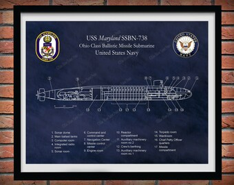 USS Maryland SSBN-738 Ohio Class Submarine Blueprint, USS Maryland Submarine Poster, Ohio Class Ballistic Missile Submarine Drawing