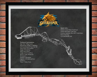GateKeeper Roller Coaster Sandusky Ohio -  Steel Wing Coaster Drawing Illustration - Thrill Seeker Coaster Ride - Amusement Park Decor -