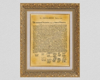 United States Declaration of Independence Print - Document Reproduction - Historical American Document - American History - John Hancock
