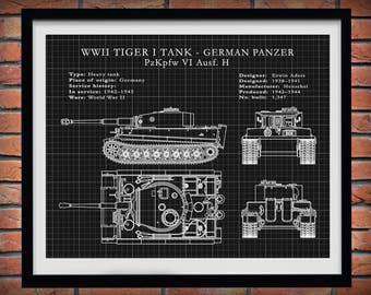 1942 German Panzer Tiger I Tank - German Nazi Army Tank - WWII Military Tank Blueprint - Soldier Wall Art - WWII Collector Print