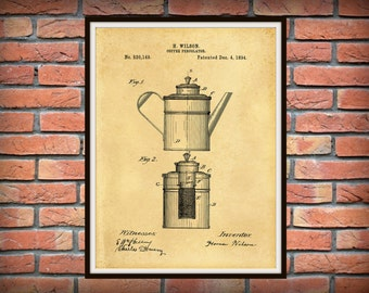 Patent 1894 Percolator Patent Coffee Pot Patent - Art Print - Kitchen - Cooking - Poster - Restaurant Art - Coffee Shop Art - Housewares