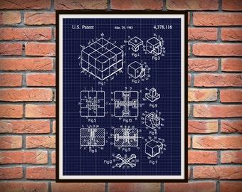 1983 Rubik's Cube Patent Print - Spatial Logical Toy Art Print - Poster - Brain Teaser Patent - Rubiks Cube - Game Patent - Big Bang Theory