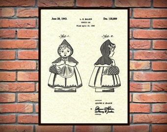 1943 Little Red Riding Hood Cookie Jar Patent Print - Hull Design Cookie Jar Poster - Kitchen Decor - Home Decor - Cookie Jar Collector Idea