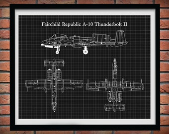 Fairchild Republic A-10 Thunderbolt II Drawing Vers #2, A-10 Warthog Blueprint, A-10 Fighter Jet, Aviation Decor, Pilot Gift Idea,