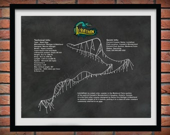 Leviathan Roller Coaster Drawing - Canada's Wonderland Roller Coaster Drawing - Leviathan Giga Coaster Blueprint - Steel Giga Coaster Decor
