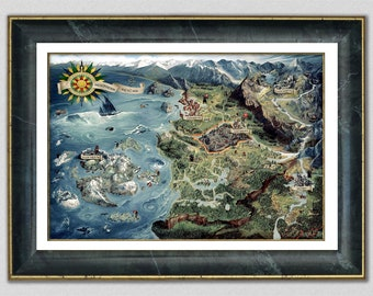 The Witcher 3 World Map, The Northern Realms Gwent Deck Map, Witcher 3 Wild Hunt Poster The Witcher Wall Art, Fantasy Décor, Geek Gamer Gift