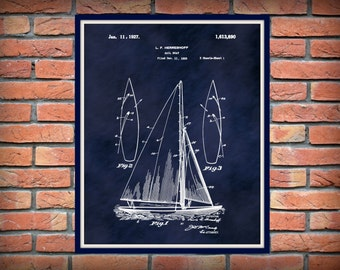 1927 Sailboat Patent Print - Sailboat Poster - Boat Print - Nautical Decor - Marina Decor - Sailor Gift Idea - Sailboat Invention