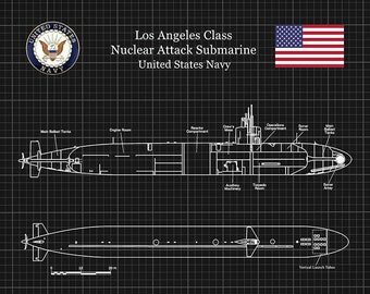 Los Angeles Class SSN-688 Submarine Blueprint, USS Los Angeles Class Submarine Poster, Los Angeles Class Nuclear Submarine Drawing