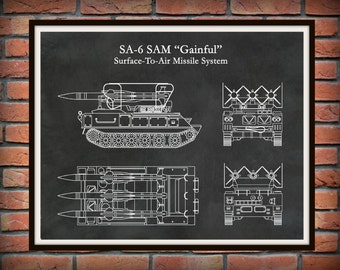 """Military Tank Print - SA-6 SAM """"Gainful"""" Tank - Mobile Surface-To-Air Missile Weapon System Illustration - Soldier Gift - Military Decor"""