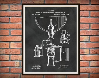 1884 Beer Bottling Patent Print - Beer Apparatus - Beer Bottling Process - Sports Bar Decor - Microbrewery Decor - Beer Brewer Gift Idea