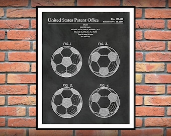 1964 Soccer Ball Patent Print - Art Print - Poster - Sports Decor - FIFA Decor - Foosball Game Ball -  Football Decor