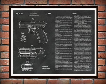 1985 Glock Pistol Patent Print Version #2 - Art Print - Poster - Military Weapon - Automatic Hand Gun - Firearm - Semi-automatic Pistol