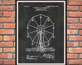 Patent 1907 Ferris Wheel  - Art Print - Poster Print - Wall Art - Carnival Ride - Amusement Park Ride