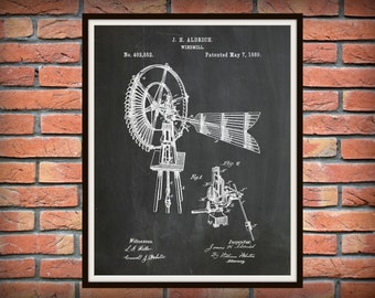 Patent 1889 Windmill - Art Print Poster Wall Art - Farm Wall Art - Water Pumping Device - Grain Milling Device - Farm Decor -  Home Decor