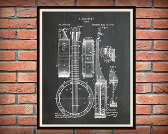 Patent 1882 Banjo - Musical Instrument Art Print - String Instrument - Wall Art - Blue Grass Art - Folk Art - Country Music Wall Art