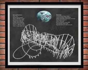Taron Roller Coaster Drawing, Phantasialand Roller Coaster, Taron Roller Coaster Blueprint, Germany Roller Coaster Decor, Roller Coaster Art