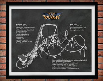 Valravn Roller Coaster Drawing, Cedar Point Roller Coaster, Valravn Roller Coaster Blueprint, Valravn Dive Coaster Art Print