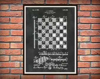 1923  Checker Board Patent Print - Chess board Poster - Board Game Patent print - Game Room Decor - Parlor Game - Checker board drawing