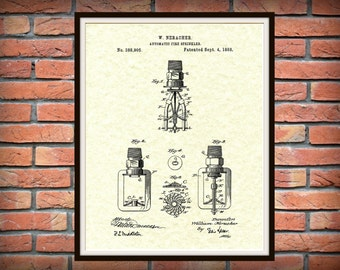 1888 Fire Sprinkler Patent Print - Poster - Firehouse Decor - Firefighter Gift Idea - Automatic Water Sprinkler Patent Print - Fire Safety