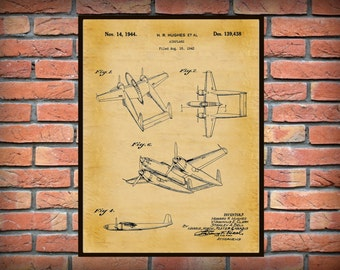1944 Howard Hughes Airplane Patent Art Print - Poster - Wall Art - Aircraft - Aviation Wall Art - Air Force Art - Flight School Decor