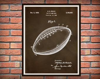 1939 Football Patent Print - Football Poster - Sports Decor - NFL Decor - Sports Bar Decor - Football Art Print - Football Lover Gift Idea