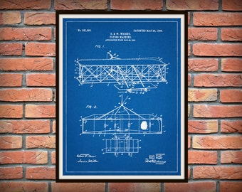 1906 Wright Brothers Airplane Patent Print Vers #2 - Kitty Hawk Airplane Poster - Aviation Decor - Aviator Gift Idea - Pilot Gift