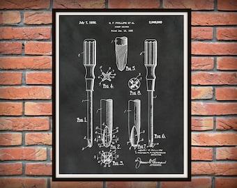 1936 Phillips Screwdriver Patent Print - Screwdriver Poster - Tool Patent Print - Man Cave Art- Mechanic garage Decor - Carpenter Gift Idea