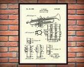 1939 Trumpet Patent Print - Musical Instrument - Brass Instrument - Orchestra Art Print - Marching Band Art - Jazz Band Gift