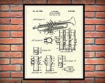 1939 Trumpet Patent Print - Musical Instrument - Brass Instrument - Orchestra Art Print - Marching Band Art - Jazz Band Gift