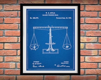1885 Balancing Scale Patent Print - Scales of Justice Patent Print - Justice Poster- Lawyer Office Decor - Judge Gift Idea - Court Decor