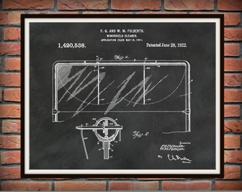 Patent 1921 Windshield Cleaner - Folberth Windshield Wiper - Art Print - Wall Art - Automobile Accessory Patent - Vacuum Windshield Wiper