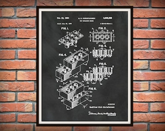 1961 Lego Patent Print, Legos Wall Art - Lego Building Blocks Patent Print - Toy Building Brick Patent - Game Room Decor - Child's Room Art