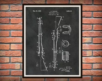 1932 M1 Garand Patent Print - M1 Garand Carbine Rifle Blueprint - Military Rifle Poster, Marine Army Veteran Gift