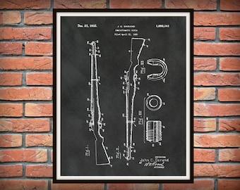 1932 M1 Garand Patent Print - Semi-automatic 30 Caliber Sniper Rifle - WW2 Assault Rifle - Art Print - Poster -  Fire Arm - Weapon