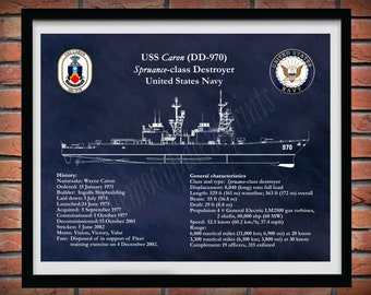 USS Caron DD-970 Drawing, Spruance Class Destroyer Drawing, Uss Caron dd-970 Blueprint, US Navy Wall Art Print, Sailor Gift