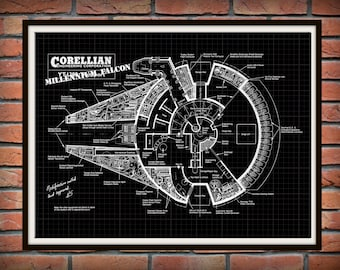 Star Wars Millennium Falcon Patent Print, Millennium Falcon Corellian Engineering Drawing, Millennium Falcon Blueprint, Falcon Poster