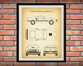 1969 Ford Mustang Mach 1 Poster, Mustang Mach 1 Drawing - Mustang Lover Gift Idea -1969 Ford Mustang Mach 1 Print, Mustang Muscle Car