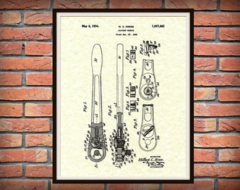 Patent 1934 Ratchet Wrench -  Socket Wrench Patent Print - Ratchet Wrench Poster - Mechanic Art - Gift for Him - Auto Repair Shop Decor