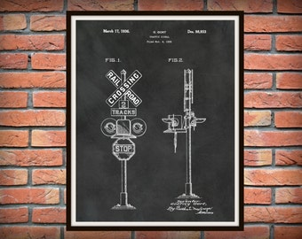 1936 Railroad Signal Patent Print  - Locomotive Art - Train Crossing Sign - Railway Station Decor - Railroad Decor - Train Collector Gift