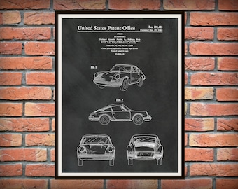 Patent 1964 Porsche 911 - Carrera Sports Car - Porsche Poster - German Automobile Patent - German Sports Car Art