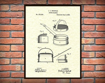 Patent 1883 Coffee Roaster - Wall Art Print - Kitchen Art- Poster - Restaurant Wall Art - Housewares - Coffee Shop Wall Art